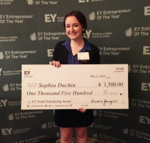 Sophia Duchin with her check